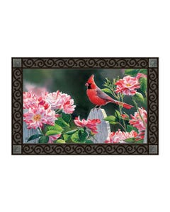 Cardinal with Variegated Roses MatMate