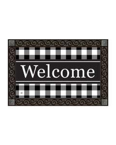Black and White Check Welcome MatMate