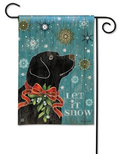CLR Let it Snow Lab Garden Flag