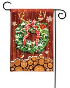 CLR Cozy Cabin Wreath Garden Flag