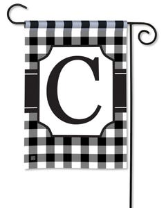 POD Black And White Check Monogram C Garden Flag