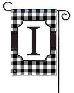 POD Black And White Check Monogram I Garden Flag