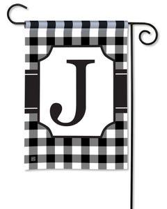 POD Black And White Check Monogram J Garden Flag