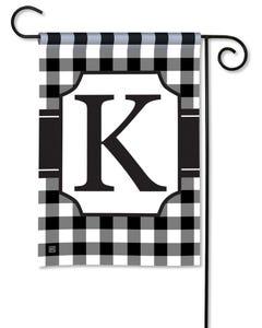 POD Black And White Check Monogram K Garden Flag