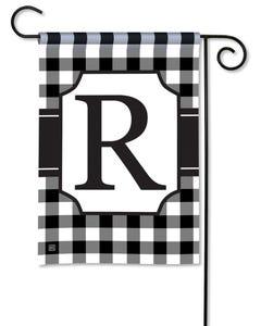 POD Black And White Check Monogram R Garden Flag