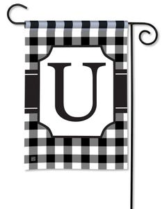 POD Black And White Check Monogram U Garden Flag