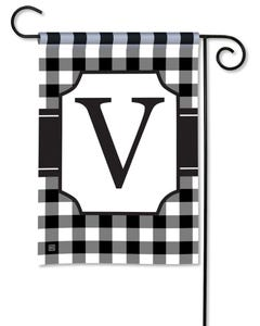 POD Black And White Check Monogram V Garden Flag