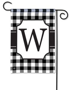 POD Black And White Check Monogram W Garden Flag