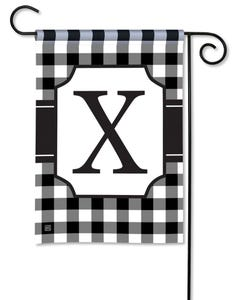 POD Black And White Check Monogram X Garden Flag