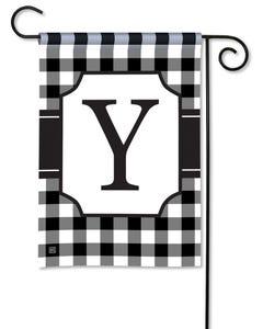 POD Black And White Check Monogram Y Garden Flag