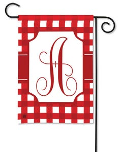 POD Red And White Check Monogram A Garden Flag