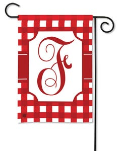POD Red And White Check Monogram F Garden Flag