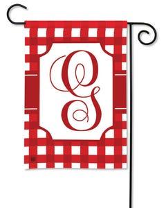 POD Red And White Check Monogram G Garden Flag