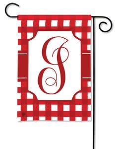 POD Red And White Check Monogram I Garden Flag