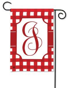 POD Red And White Check Monogram J Garden Flag