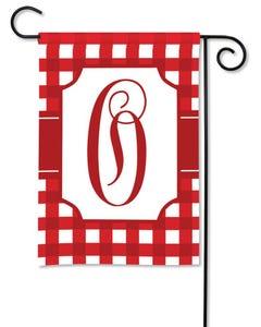 POD Red And White Check Monogram O Garden Flag