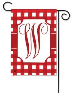 POD Red And White Check Monogram W Garden Flag