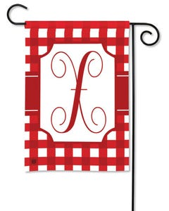 POD Red And White Check Monogram X Garden Flag