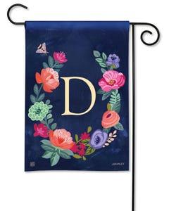 POD Boho Flowers Monogram D Garden Flag