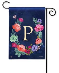 POD Boho Flowers Monogram P Garden Flag
