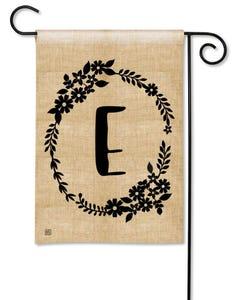 POD Rustic Monogram E Garden Flag