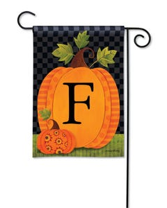 POD Patterned Pumpkins Monogram F Garden Flag