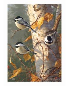 Chickadee Trio Garden Flag