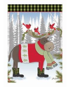 Winter Fun Moose Garden Flag