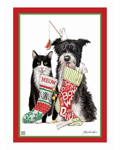 Christmas Dog and Cat Garden Flag