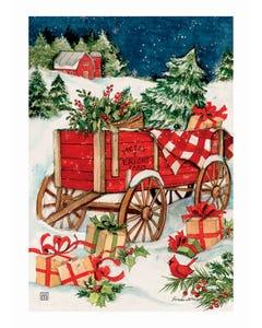 Christmas Farm Wagon Garden Flag