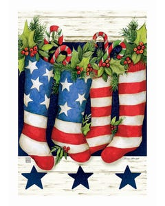 Patriotic Stockings Garden Flag