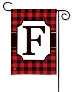 POD Buffalo Check Monogram F Garden Flag