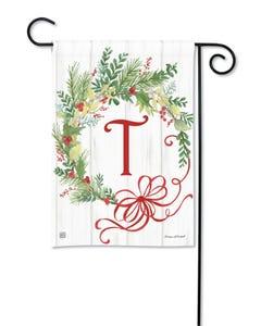 POD Winterberry Monogram T Garden Flag