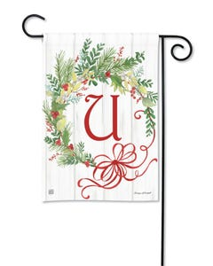 POD Winterberry Monogram U Garden Flag