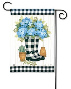 Black and White Wellies Garden Flag