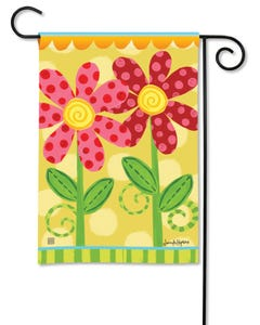 Folk Flowers Garden Flag