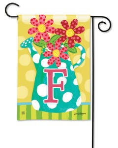POD Watering Can Monogram F Garden Flag
