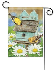 Finches and Flowers Garden Flag