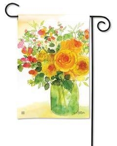 Yellow Roses Garden Flag
