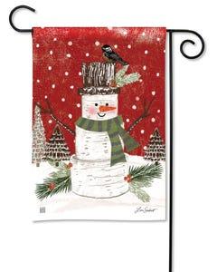 Woodsy Snowman Garden Flag
