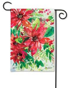 Watercolor Poinsettia Garden Flag