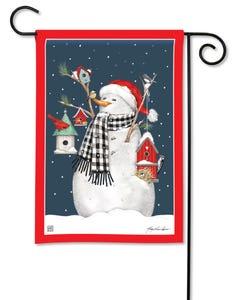 Birdhouse Snowman Garden Flag