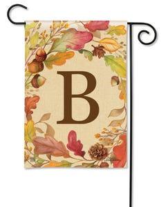 POD Swirling Leaves Monogram B Garden Flag