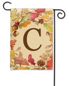 POD Swirling Leaves Monogram C Garden Flag