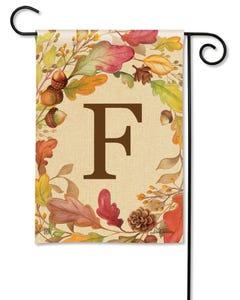 POD Swirling Leaves Monogram F Garden Flag