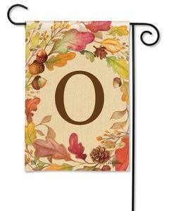 POD Swirling Leaves Monogram O Garden Flag