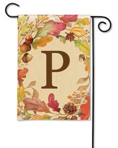POD Swirling Leaves Monogram P Garden Flag
