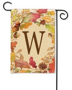 POD Swirling Leaves Monogram W Garden Flag