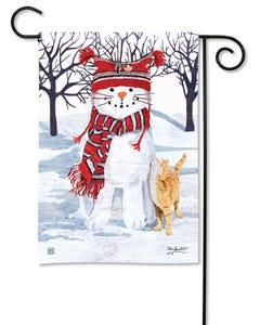 Snow Cat Garden Flag