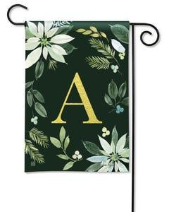 POD Poinsettia Joy Monogram A Garden Flag